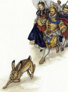 The Red Fairy Book by Andrew Lang, 2008, illustrated by Niroot Puttapipat, 'It's a remarkably fine hare !', Illustration for The Master Thief.