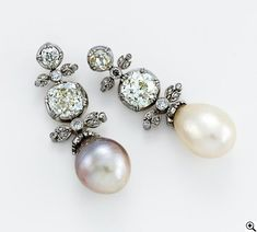 Victorian  Pearls and Diamond Earrings around 1850