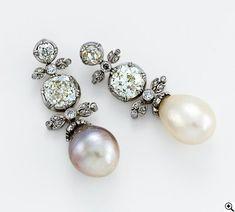 Victorian  Pearls and Diamond Earrings around 1850. http://www.annabelchaffer.com/categories/Designer-Jewelery/