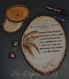 """This detailed piece was created using pyrography, a wood burning technique done by hand, using a wood burning tool.  The scenery was sketched on the wood, the quote/words were edited using Microsoft word, then transferred to the wood using transfer paper and pencil.  The design was burned at a high temperature. Some areas were highlighted using colored acrylic pencils. The completed design was coated with a wood seal. Wood used was basswood which measures 10x7 with 1"""" thickness."""