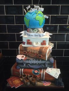 Travel suitcase wedding cake  by Paul of Happy Occasions Cakes. - http://cakesdecor.com/cakes/208379-travel-suitcase-wedding-cake