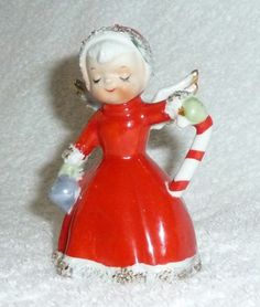 Vintage Christmas Candy Cane Bell Spaghetti Angel Figure Norcrest Shopper Napco | eBay