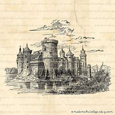 French Castle Medieval Digital Image Download by MadameBricolage, $2.00