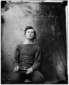 This is the Lincoln assassination co-conspirator Lewis Payne being held in federal custody prior to his execution in 1865. As Lincoln was being killed at the Ford Theater, Payne, an Alabama native and Confederate veteran, entered the bedroom of Secretary of State William H. Seward and began to attack him with a large knife.