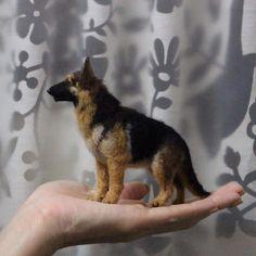 Needle felted German Shepard Dog by Mikiharu Nagumo.