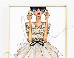 Fashion Illustration Print Stripes Floral 8x10 by anumt on Etsy