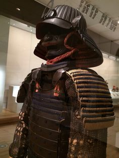 Yoroi and Kabuto  Edo Period 1680-1800. Metal, lacquer, leather, silk, cotten, hemp. gold pigments and colored dyes.    This is on display at the National Gallery of Victoria (NGV), Melbourne, Australia till Nov 2014 Samurai Armor, Edo Period, Warfare, Arms, Victoria, Melbourne Australia, Helmets, Metal, Leather