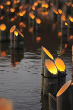 Bamboo lanterns for a pool party or for a wedding decoration. Used electric candles.