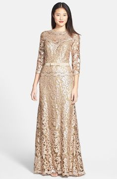 Free shipping and returns on Tadashi Shoji Belted Sequin Lace Gown at Nordstrom.com. The always-chic bateau-neck gown is elevated to black-tie glam in shimmery sequin-embroidered lace that's left sheer at the yoke and three-quarter sleeves.