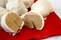 Peanut Butter Snowballs, a creamy treat dipped in white chocolate! No-baking required and just four ingredients are needed. An easy treat to make with kids!