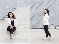 Kalina H. - H&M White Blazer, Stradivarius Black Lacy Top, Mango Cotton Cropped Pants, Gido Shoes Beige Oxford - Business Casual Business Casual Dress Code, Lacy Tops, Office Looks, Dress Codes, Cropped Pants, Duster Coat, Normcore, Blazer, Pretty