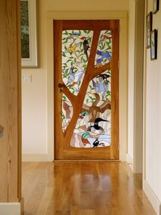 Custom Made Stained glass door - Birds by Janet Redfield Stained Glass - I might not want birds like these but more of a tree aqua  bird kinda thing could be cool.