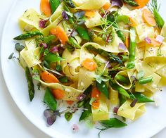 Pappardelle with Spring Vegetables. Lite, Lively and Fit!....and it Tastes Great too! Bright spring vegetables, a tangy vinaigrette, and fresh microgreens give this vibrant pasta dish delicious layers of flavor and texture.  One more delicious way to get ready for all those glorious summer beach days ahead!  | Creative Elegance Catering