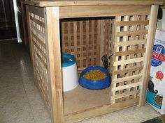Materials: Hol storage cube (small) Description: When our 8 month old baby got mobile, crawling to and playing with the cats' food and water became his favorite target. As he sat, soaking wet among an entire bowl of dispersed cat food, the orange-dyed drool sliding down his chin, I knew something had to be done. [&hellip