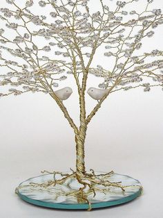beaded wire tree | Love Birds Beaded Wire Tree Sculpture Wedding Cake by ... | Wire Trees