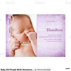Baby Girl Purple Birth Announcement