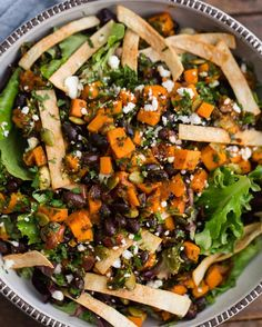 Chipotle sweet potato taco salad with options for dinner! Like in profile. #vegan #vegetarian