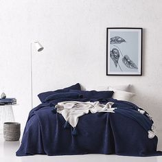 Linen Bedroom, Linen Bedding, Bedroom Decor, Bed Linen, Navy Blue Bedding, Quilt Cover, Bed Spreads, Decorative Accessories, Comforters