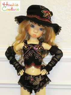 Black Lace for MSD-size dolls by Kaye Wiggs ♡ dolls Layla, Nyssa, Miki, Anabella ♡ http://hankiecouture.com ♡ #hankiecouture 2013