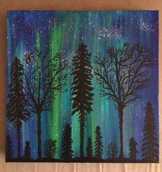 """$50 Acrylic Painting of the Aurora Borealis (northern lights) on 12"""" x 12"""" canvas, wall hanging, Light Show by Kim Mlyniec by UpandDownArt on Etsy"""