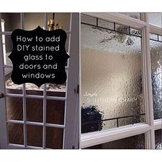 DIY Stained Glass for Privacy on Doors and Windows. The stuff is called Gallery Glass by Plaid