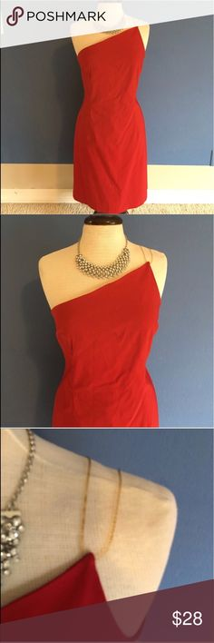 "Express Red One Shoulder Dress You will be red hot in this dress!   The one shoulder look is interesting and classy.  The shoulder on this dress is held up by two clear straps.  Wear anytime you want to look amazing.  Measurements: Length - 38""/Bust - 18""/Waist - 17"" Express Dresses Midi"