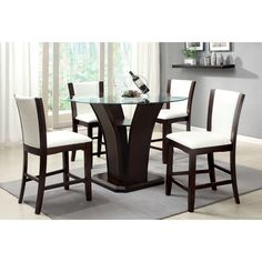 Entertain guests in style with this five-piece dining set. The counter-height glass table creates a dramatic flair for your home, while the leatherette chairs bring comfort to mealtime. This set comes in a dark cherry finish for a contemporary look.