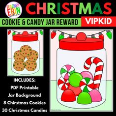 This printable Christmas Jar reward set is the perfect way to celebrate the Christmas holiday in your VIPKid classroom! Reward students by placing yummy Christmas Cookies or Christmas candy in the jar! Candies include candy canes, mints, gumdrops, and hard candies.What's Included:1 Christmas Jar ba...