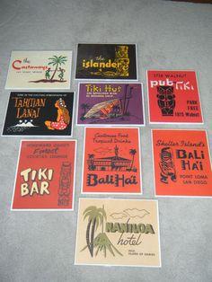 """VTG #TIKI BAR SIGNS * LOT OF 9 * 11"""" x 14"""" hawaii lounge poster bali hai tahitian"""