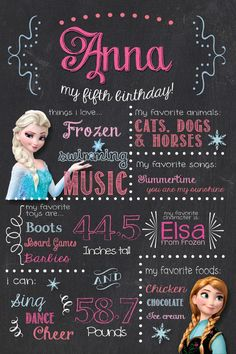 Frozen birthday chalkboard with cute stats about the birthday girl!! Pinning now for later! So cute for an Elsa or Anna themed frozen party.