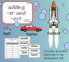 Adding -er and -est SmartBoard Lesson for Primary Grades (.notebook file)  Includes interactive pages, links to videos and printable materials for write the room in the attachment tab) **** FREE *****