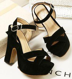 sandales à talons velours noir femmes chaussures plate forme de l'été ...