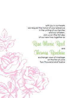 Invitations. Our beautifully delicate Pink Rose Wedding Invitation Kit. Perfect for that spring or summer wedding.