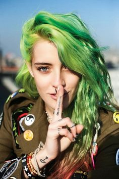 Neon Green Hair 2014. I was looking everywhere for this.