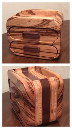 ****SOLD**** Bandsaw box made from zebra, plywood and black walnut.