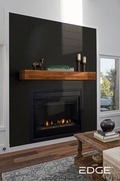 Can you put shiplap around a fireplace? Black Fireplace Surround, Wood Fireplace Surrounds, Wood Mantle Fireplace, Home Fireplace, Fireplace Remodel, Modern Fireplace, Living Room With Fireplace, Fireplace Design, Fireplace Decorations