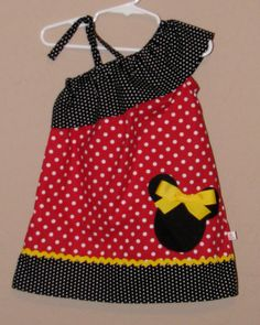Disney Minnie Mouse Inspired Baby Toddler Dress - Ruffled One Shoulder Dress