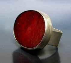 Large Red Enamel Ring