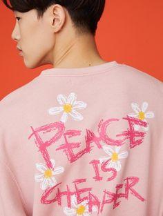W CONCEPT : W컨셉 - [MSKN2ND:문수권세컨] PEACE IS CHEAPER SWEATSHIRT PINK