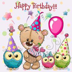 Happy Birthday Dachshund, Happy Birthday Bear, Birthday Wishes For Friend, Happy Birthday Wishes Cards, Happy Birthday Pictures, Happy Birthday Quotes, Card Birthday, Birthday Frames, Clipart