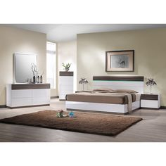 J & M Furniture Modern Sanremo Queen Platform Bed with LED Headboard Lights 18023