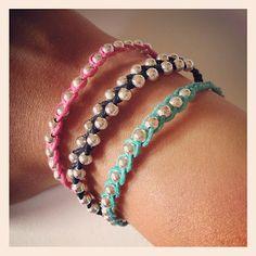 braccialetti moda primavera estate 2012 - ile roby bijoux - cotone cerato più perline - fashion
