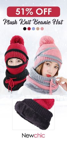 bc18b026deb Women Winter Thick Plush Warm Knit Beanie Hat Masks Scarf Set Outdoor Ski  Windproof Ear Cover