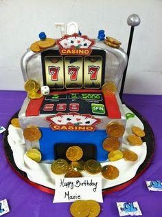 Casino Slots Cake for a Friend! See more: http://www.internetbet.com/casino-cakes/slot-machine-cake #cakeideas #birthdaycakes #70thbirthday