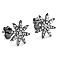 Starburst CZ Earrings Black Rhodium over Sterling Silver Starburst Earrings, Silver Earrings, Stud Earrings, Cubic Zirconia Earrings, Black Rhodium, Constellations, Sterling Silver, Crystals, Accessories