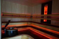 New sauna with termoabachi benches, Harvia Forte and RGB LED Himalaya salt light