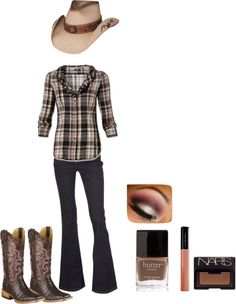 """""""Brown & Pink Cowgirl Outfit"""" by haileyanne1995 on Polyvore"""