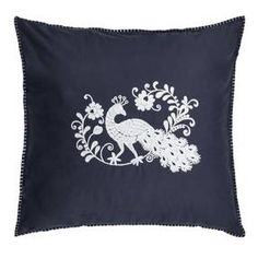 From the exclusive Jan Constantine collection, this navy blue continental pillowcase features a decorative peacock motif that has been beautifully embroidered i. Soft Furnishings, Peacock, Pillow Cases, Oriental, Tapestry, Throw Pillows, Cotton, Stuff To Buy, Collection