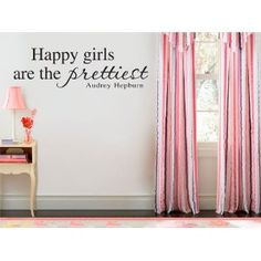 Happy Girls ( Wall Quote Audrey Hepburn ) Wall Art Vinyl Stickers, Living Room, Office, Bedroom, Sizes and Colours Available, Apply in 5 minutes, FREE Applicator, Easy Peel - - PLEASE CHOOSE YOUR SIZE & COLOUR USING DROP DOWN MENU - - - Large 110cm x 36cm Gold