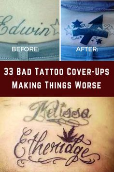 Regretting a tattoo is nothing out of the ordinary. Maybe you change your mind, or maybe your artist's vision doesn't match yours. No sweat, though — you can always get a cover-up, right? Bad Tattoos, Cover Up Tattoos, Trendy Tattoos, Small Tattoos, Sleeve Tattoos, Stylish Tattoo, Stomach Tattoos, Finger Tattoos, Nail Designs Spring